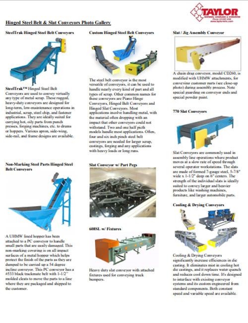 Hinged Steel Belt & Slat Conveyors Photo Gallery