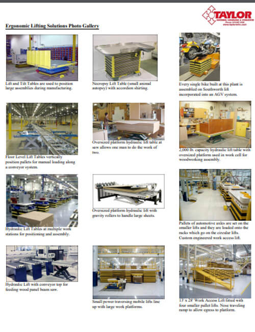 Ergonomic Lifting Solutions Photo Gallery