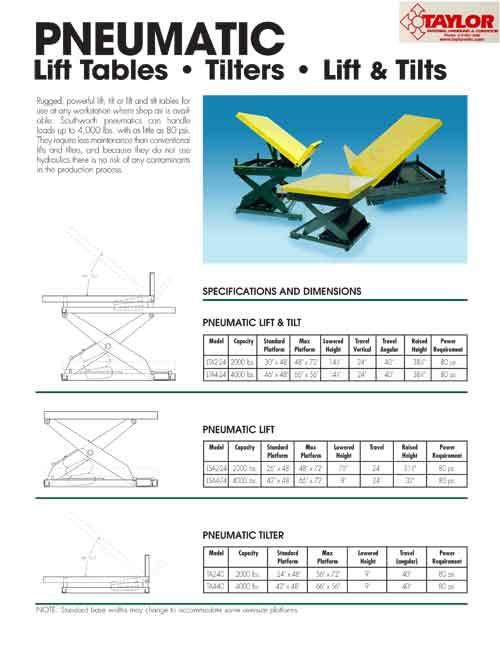 Pneumatic Lift Tables Flyer