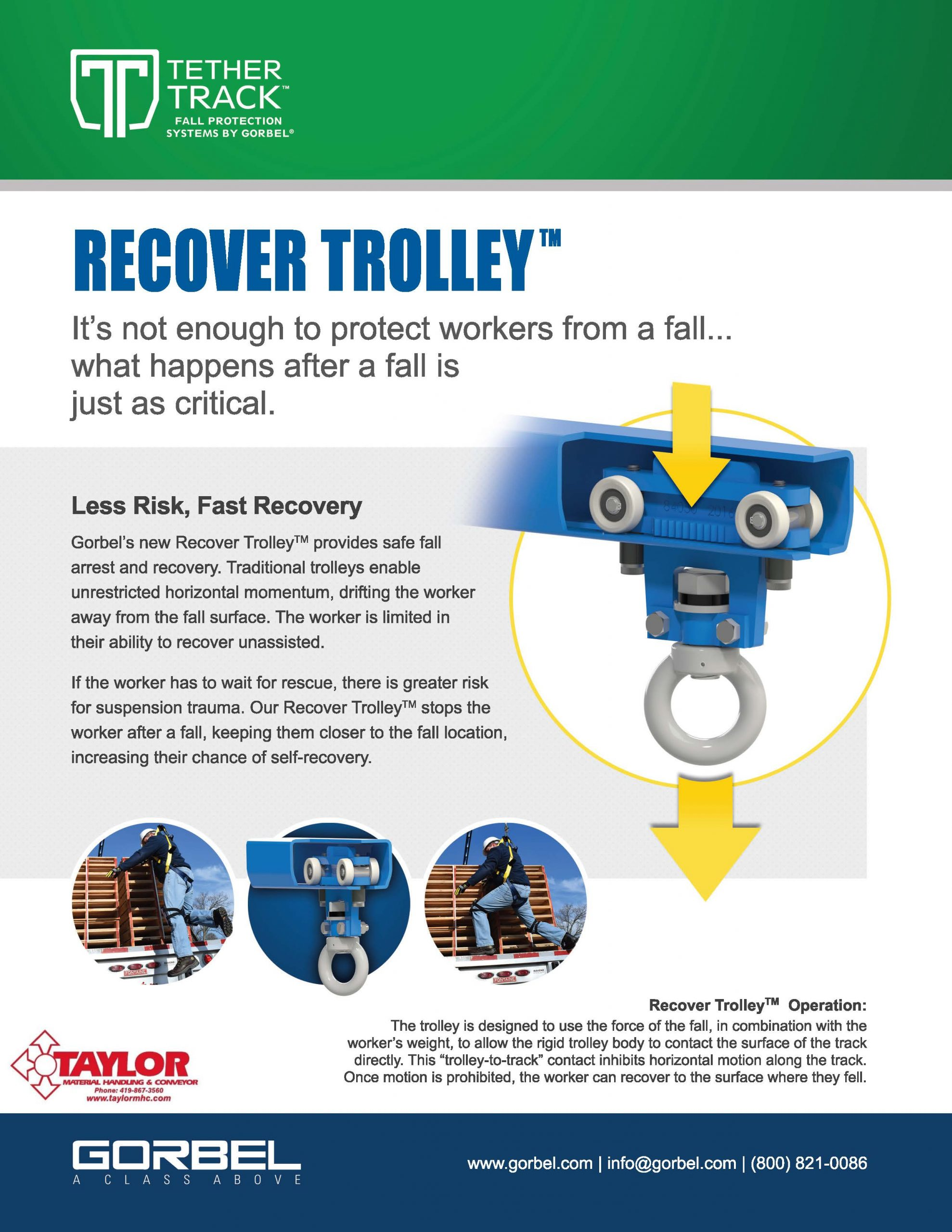 Gorbel Tether Track Recovery Trolley