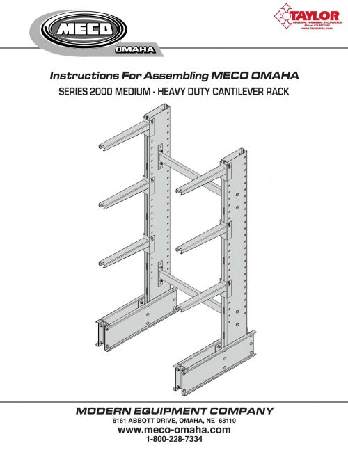 Series 2000 Cantilever Rack Assembly Manual