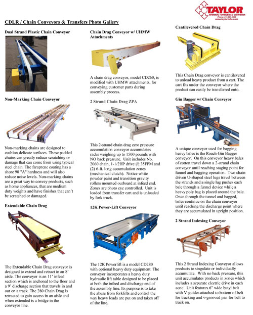 CDLR-Chain Conveyors & Transfers Photo Gallery