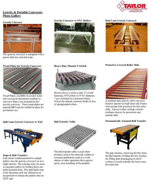 Gravity & Portable Conveyors Photo Gallery