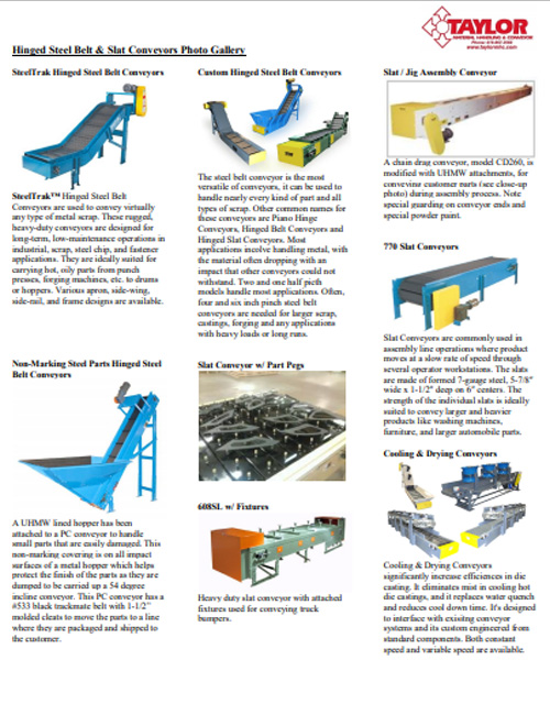 Hinged Steel Belt & Slat Conveyors Photo Gallery