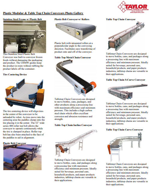 Plastic Modular & Table Top Chain Conveyors Photo Gallery