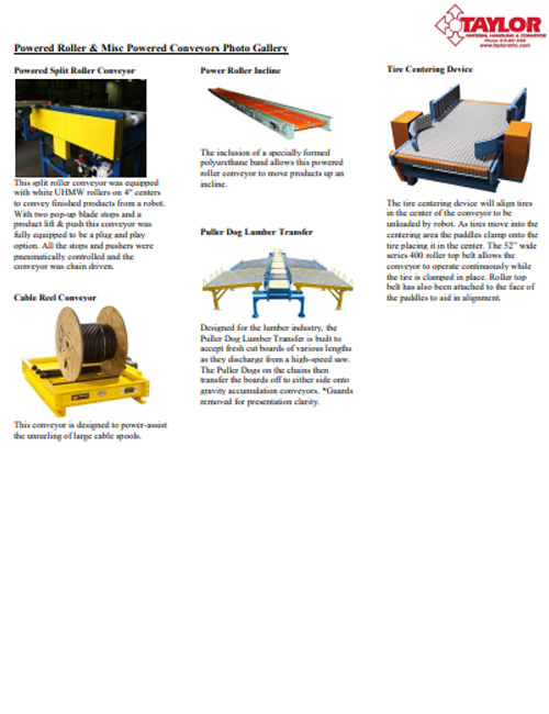 Powered Roller & Misc Powered Conveyors Photo Gallery
