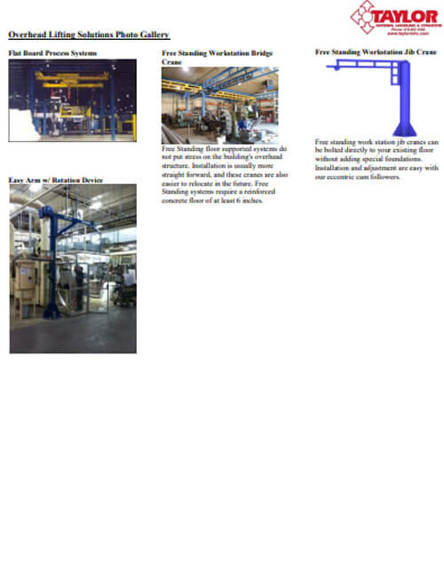 Overhead Lifting Solutions Photo Gallery