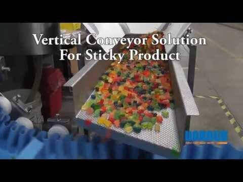 Vertical AquaPruf Conveyor for Sticky Product