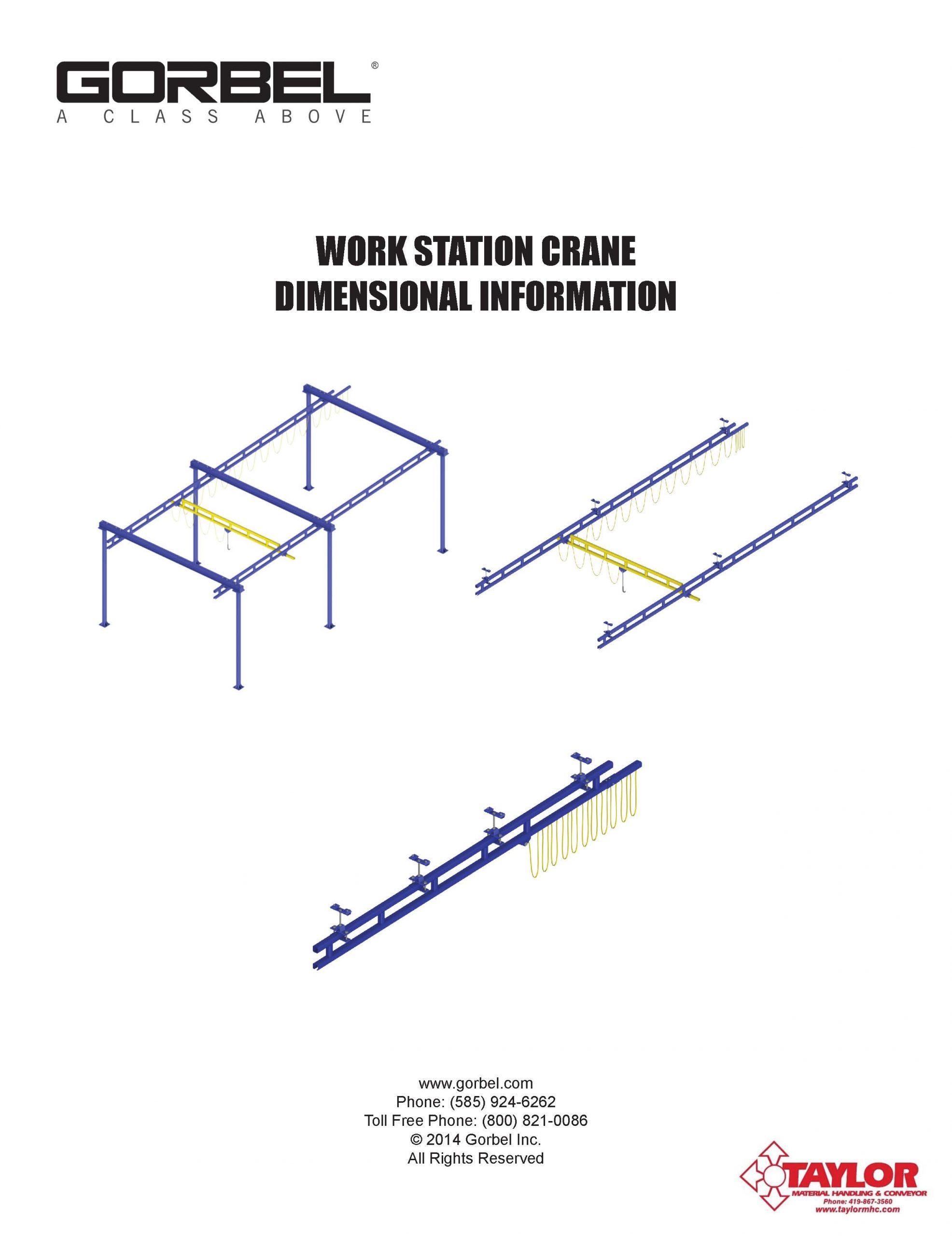 Workstation Crane Dimensional Information