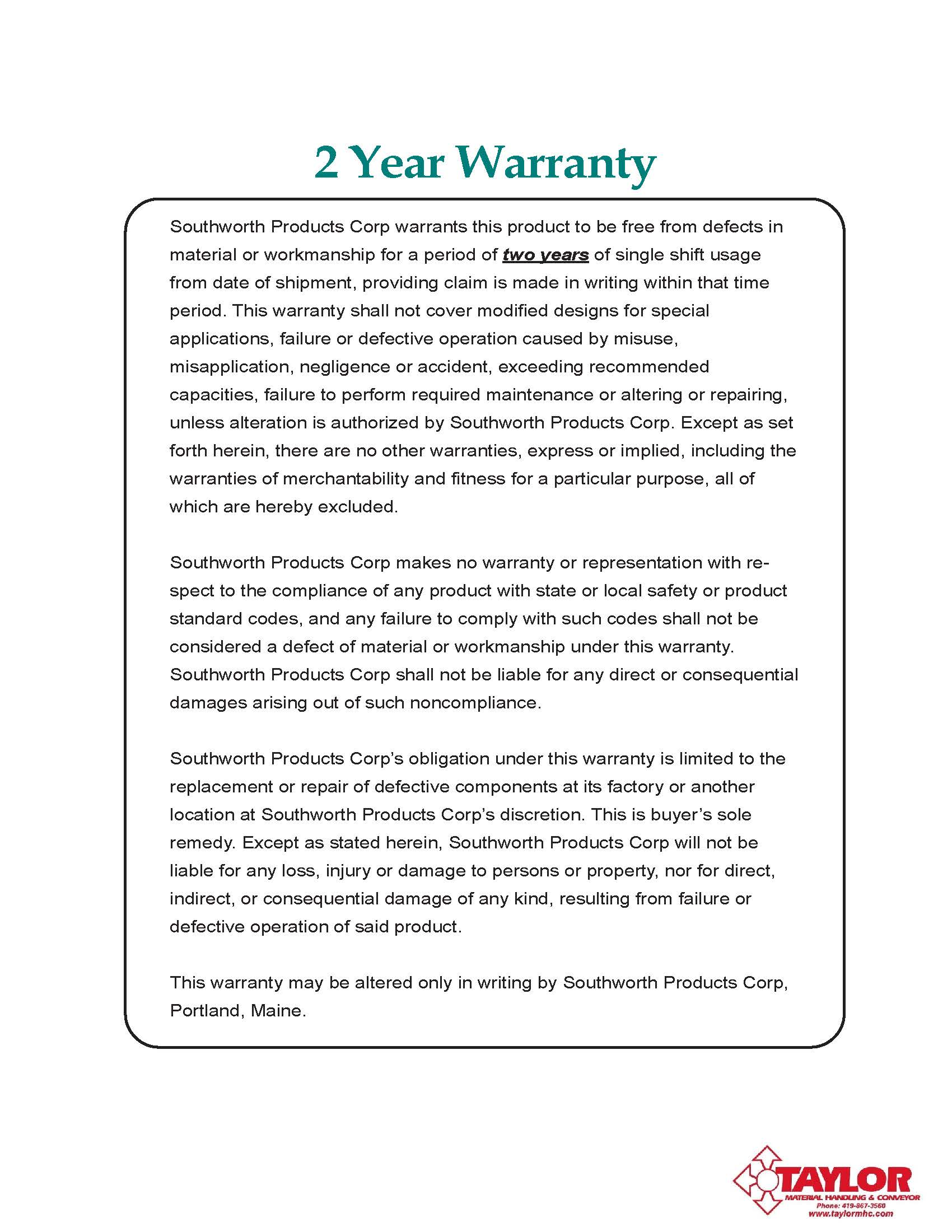 Southworth Standard Warranty